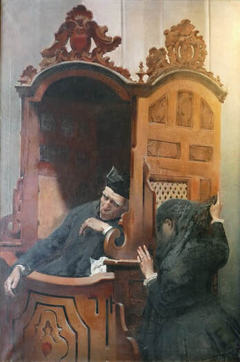 Premodern illustration of a woman speaking to a Catholic priest in his confessional booth. (Pixabay.com)